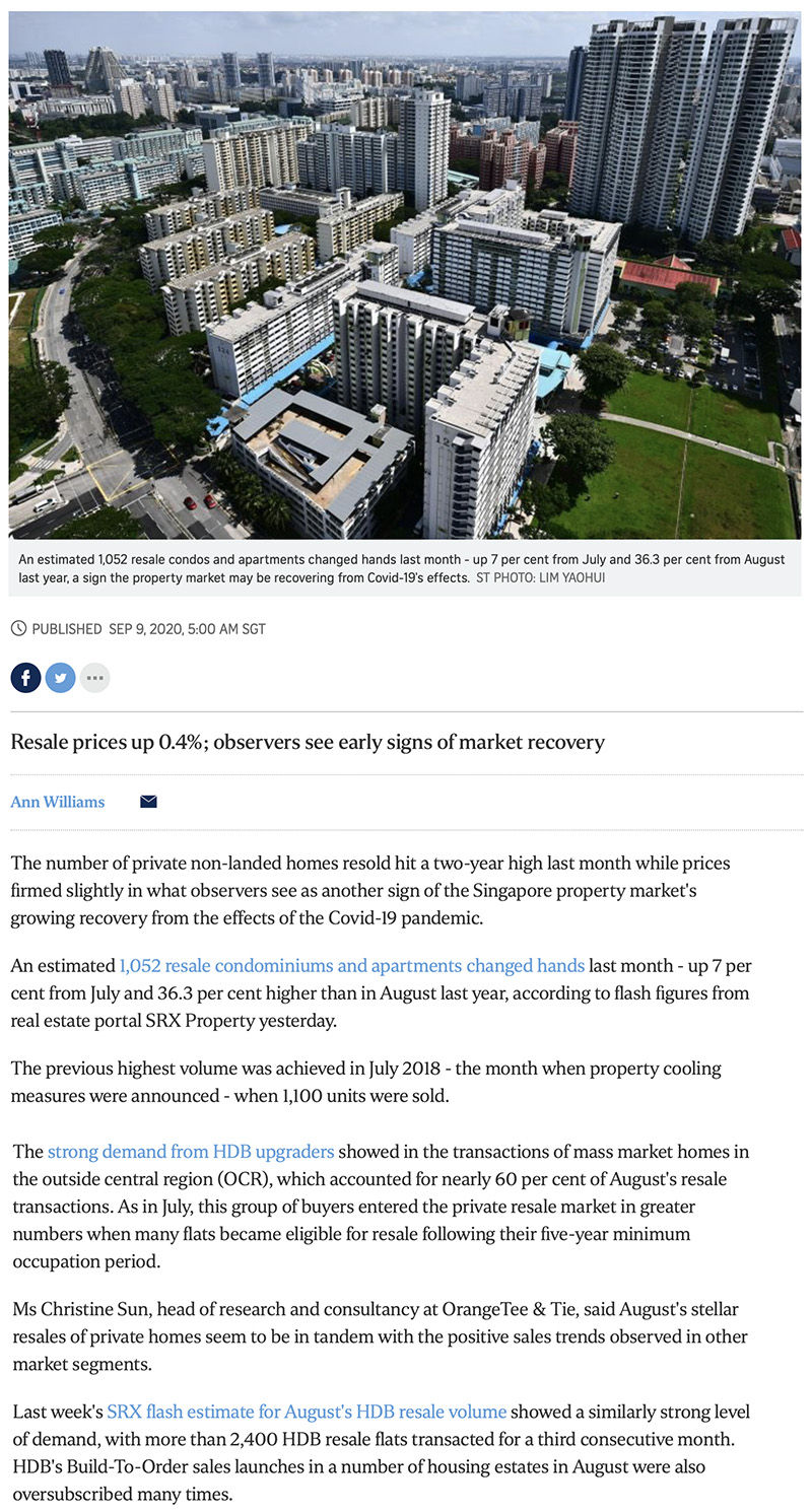 Irwell Hill Residences - Private home resale volume hits 2-year high in Aug: SRX 1