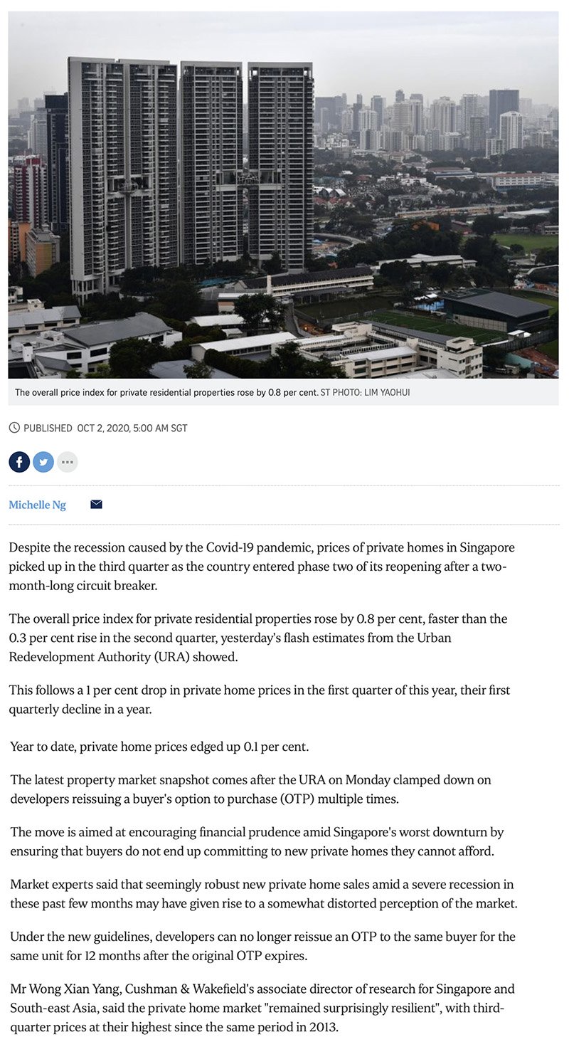 Irwell Hill Residences - Private home prices rise faster in Q3 despite Covid-19 recession 1